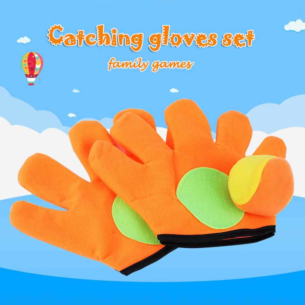 Small/large gloves sticky ball Outdoor Sports Game Throw Catch Balls Toy Gloves Set Sticky Mitts Catch Balls Kids Playing toys
