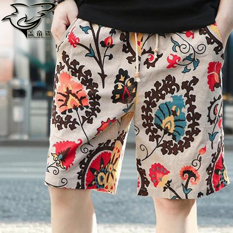 Hot Selling Pure Cotton Flax MEN'S Beach Pants Quick-Dry Casual Shorts Fashion Printed Shorts Large Size
