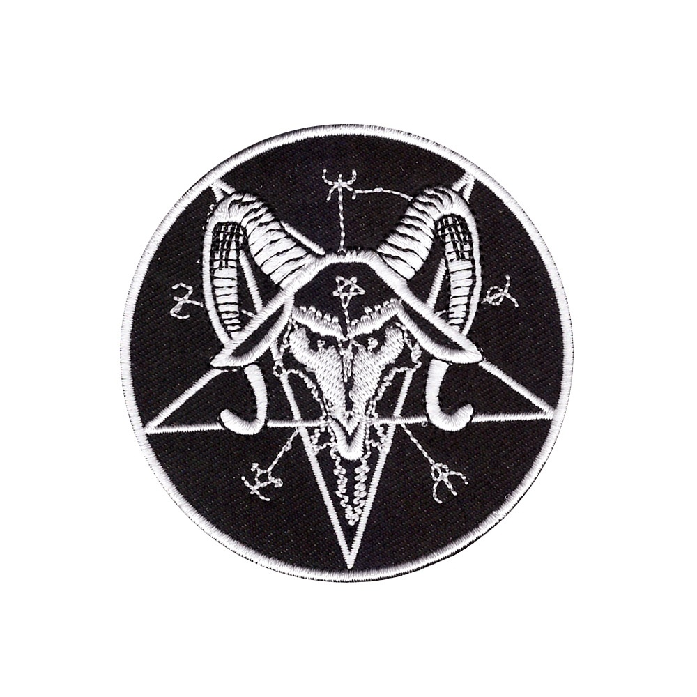 Patch embroidered badge flag backpack hand satan red pentacle thermoadhesive