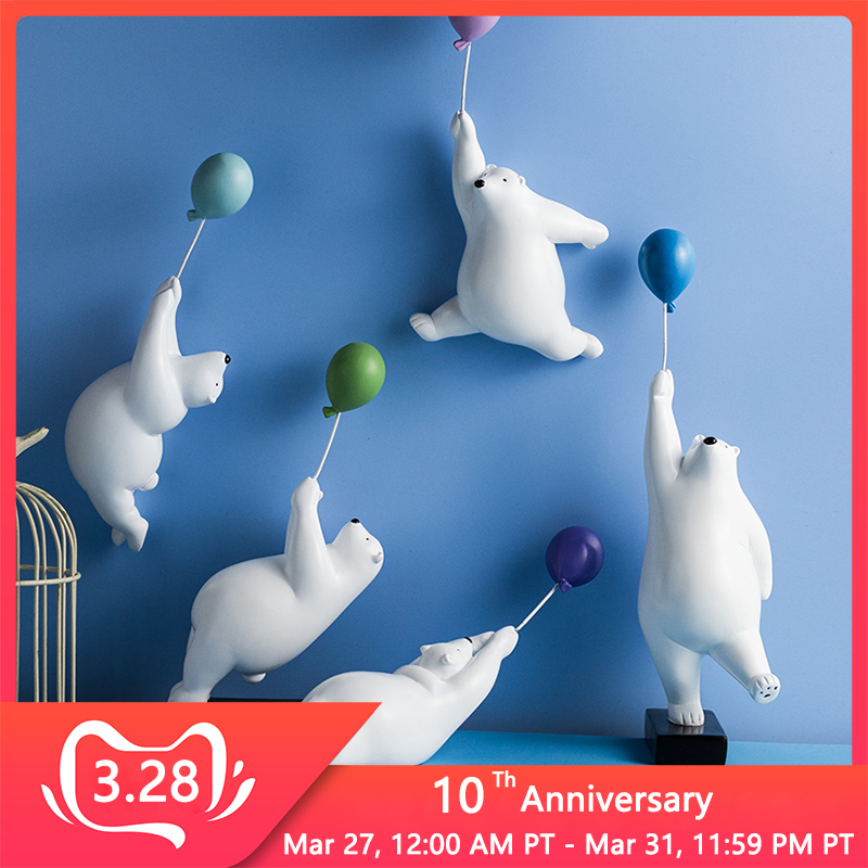 Balloon Polar Bear Wall Decoration Animal Sculpture Bear Statue Garden Flower Pot Decor Home Living Room Background Wall Hanging