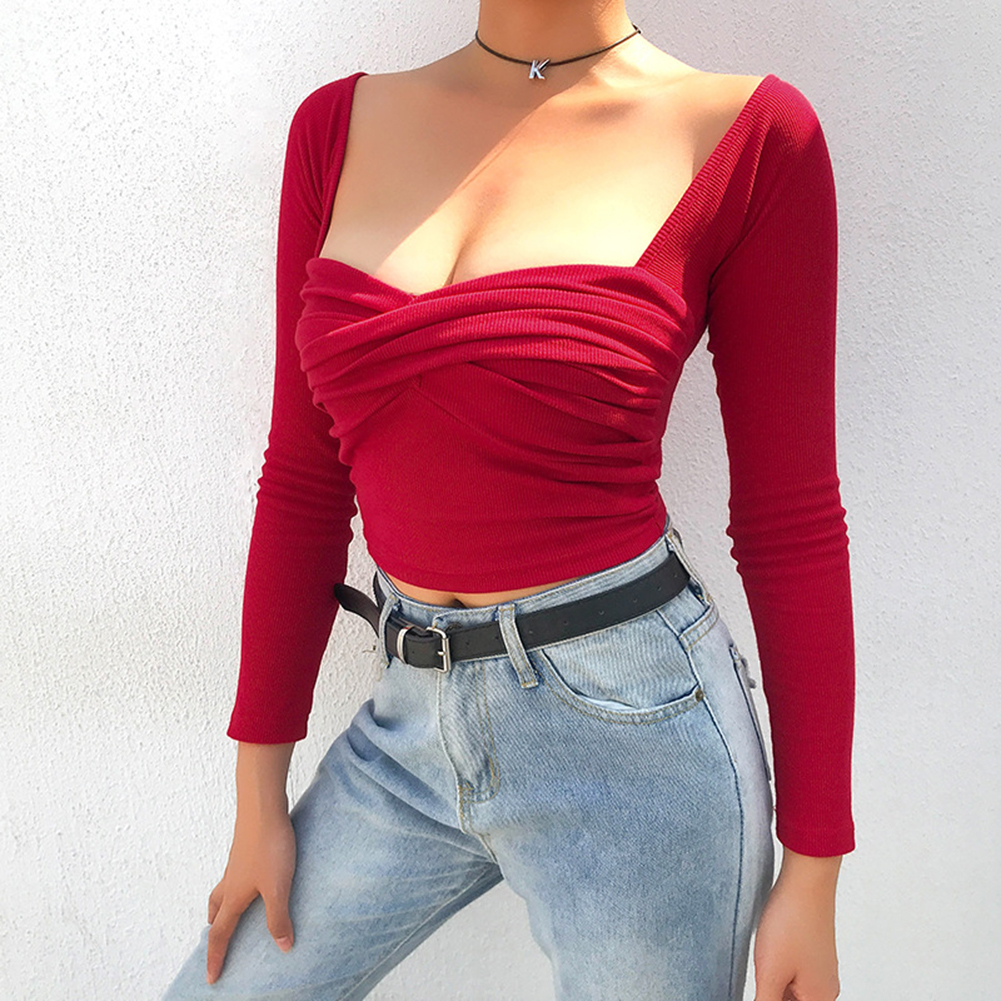 Women Sexy T-shirt Cotton Long Sleeve V-Neck  Tee Pinup Top Off-The-Shoulder Camiseta Mujer Streetwear Harajuke Clothing