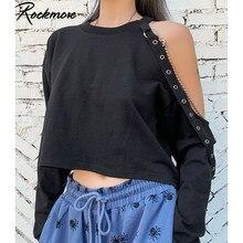 Rockmore Off Shoulder bluza damska Plus rozmiar Harajuku Streetwear krótkie bluzy z kapturem koreański pot Femme zimowa bluza z kapturem jesień