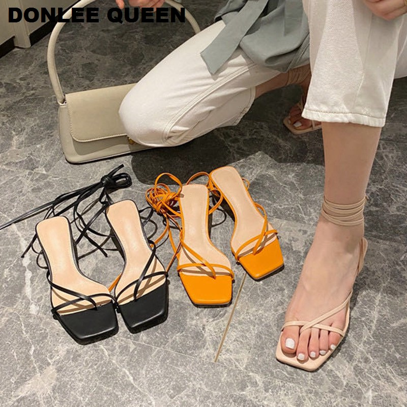DONLEE QUEE Women Sandals Low Thin Heel Lace Up Sandal Back Strap Summer Shoes Gladiator Casual Sandal Narrow Band zapatos mujer