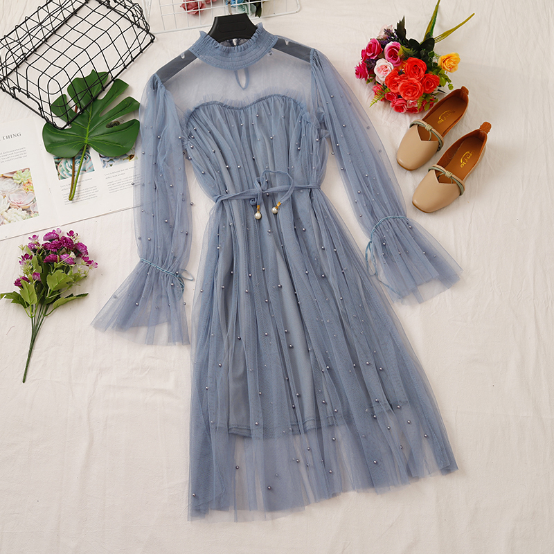 Women Flare Sleeve Pleated Mesh Gauze Tulle Ruffles Pearl Bead Dress Vintage A-line Elastic Slim Bandage Strap Button Midi Dress