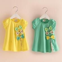 Летняя хлопковая футболка для девочек с круглым вырезом и коротким