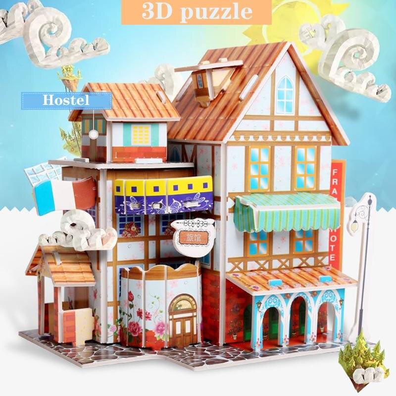 3d Puzzle Paper 3D DIY Puzzle Castle Assembling Model Cartoon Hous Hotel Florist French Cafe Education Toys For Children