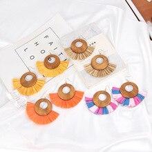 Straw Raffia Rainbow Tassel Geometric Wooden Drop Earrings for Women Bihemian Big Multicolor Statement Handwoven Jewelry Gifts