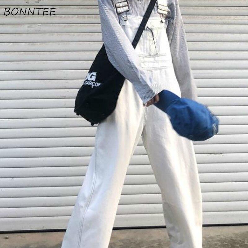Jumpsuits Women Denim Loose Solid Pockets Casual Retro BF Ulzzang All-match Streetwear Korean Style Fashion Womens Harajuku Soft