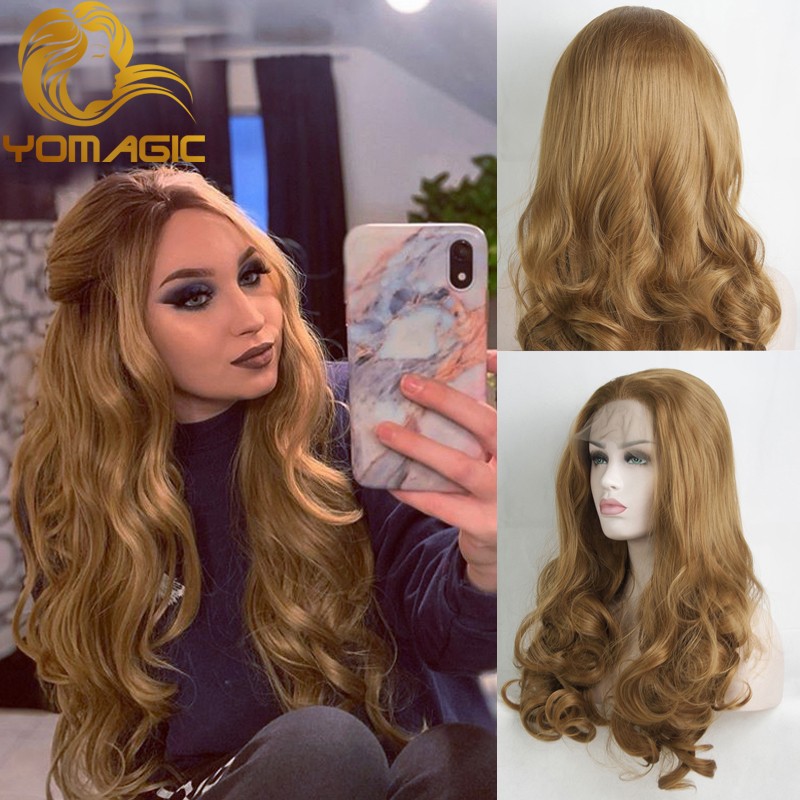 Yomagic Hair Brown Color Lace Front Wigs For Women Long Wavy Synthetic Hair Wigs Affordable Colored Wigs For Party