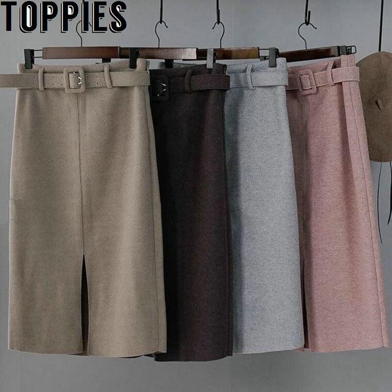 Зимние розовые шерстяные юбки с высокой талией, женские офисные миди юбки с разрезом спереди, элегантные faldas, уличная 2810, 2019|Спортивные костюмы|   | АлиЭкспресс