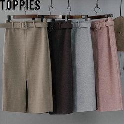 winter Pink Woolen Skirts High Waist Lady Office Midi Skirts Front Split Elegant faldas 2019 Streetwear