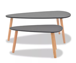 Hot-new VidaXL طقم طاولة القهوة طاولة جانبية لغرفة المعيشة غرفة نوم 2 قطع الصلبة خشب الصنوبر الأسود دائم Freeshipping إلى إسبانيا