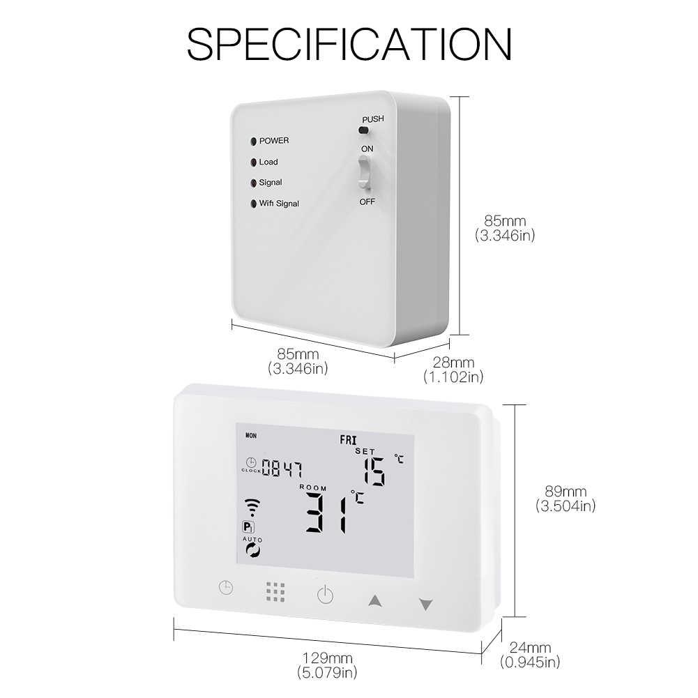 WiFi akıllı termostat duvara asılı gaz kazanı isıtma sıcaklık kontrol cihazı Alexa Google ev ile çalışmak