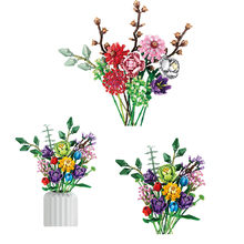 999Pcs/1237Pcs Eternal Flower Bouquets Assembled Building Blocks MOC Tulip Lily Flowers Plants Home Decor Bricks Kids DIY Toys
