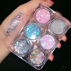 6 цветов с принтом, с блестками Гель кремовое палитра теней для век Блеск Алмазный Набор для макияжа глаз