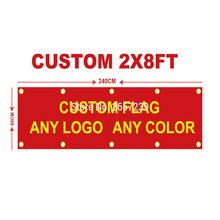 Banner Decoration Logo Sport-Club Custom Double-Stitched Outdoor Brand 2x8ft 60x240cm