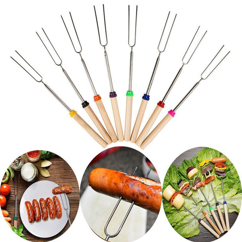 HobbyLane 8pcs Outdoor Camping Cookware Supplies Stainless Steel Barbecue Marshmallow Roast Stick Extension Roaster Telescopic