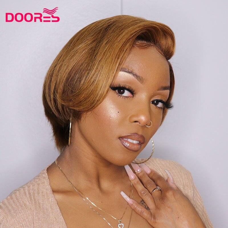 250% gęstość prosto fryzura Pixie peruka brązowy Ombre ludzkich włosów peruki dla czarnych kobiet brazylijski Remy 2x4 4x4 zamknięcie koronki peruka H