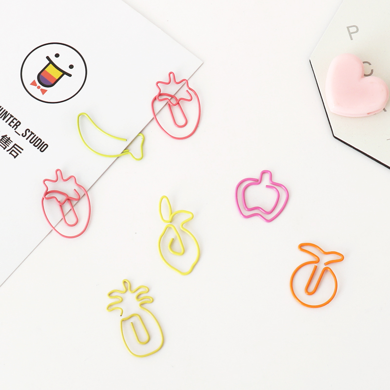 TUTU 30pcs/lot Creative Kawaii Fruit Shaped Metal Paper Clip Bookmark Stationery School Office Supply Escolar Papelaria H0341