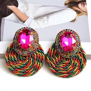 Colorful Crystal High-quality Rhinestone Handmade Round Drop Earrings 1