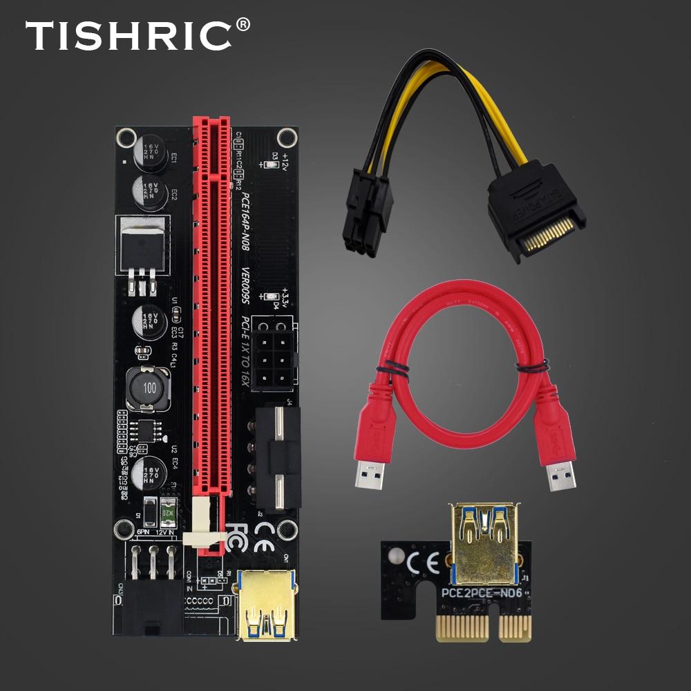 10 шт. Новейшая Плата PCI-E Райзера TISHRIC 009s, расширитель PCIE PCI E USB 3,0 SATA на 6 контактов, переходник для майнинга видеокарты