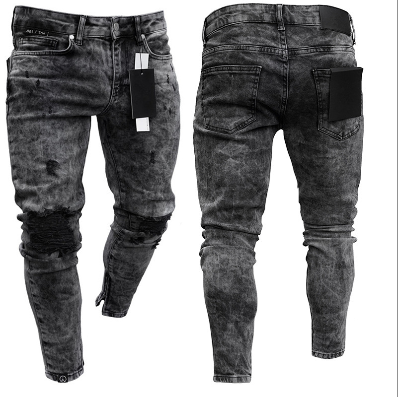 Europe And America Hot Sales New Style Men's Skinny Jeans Snowflake Casual Slim Fit Zipper Skinny Pants Men