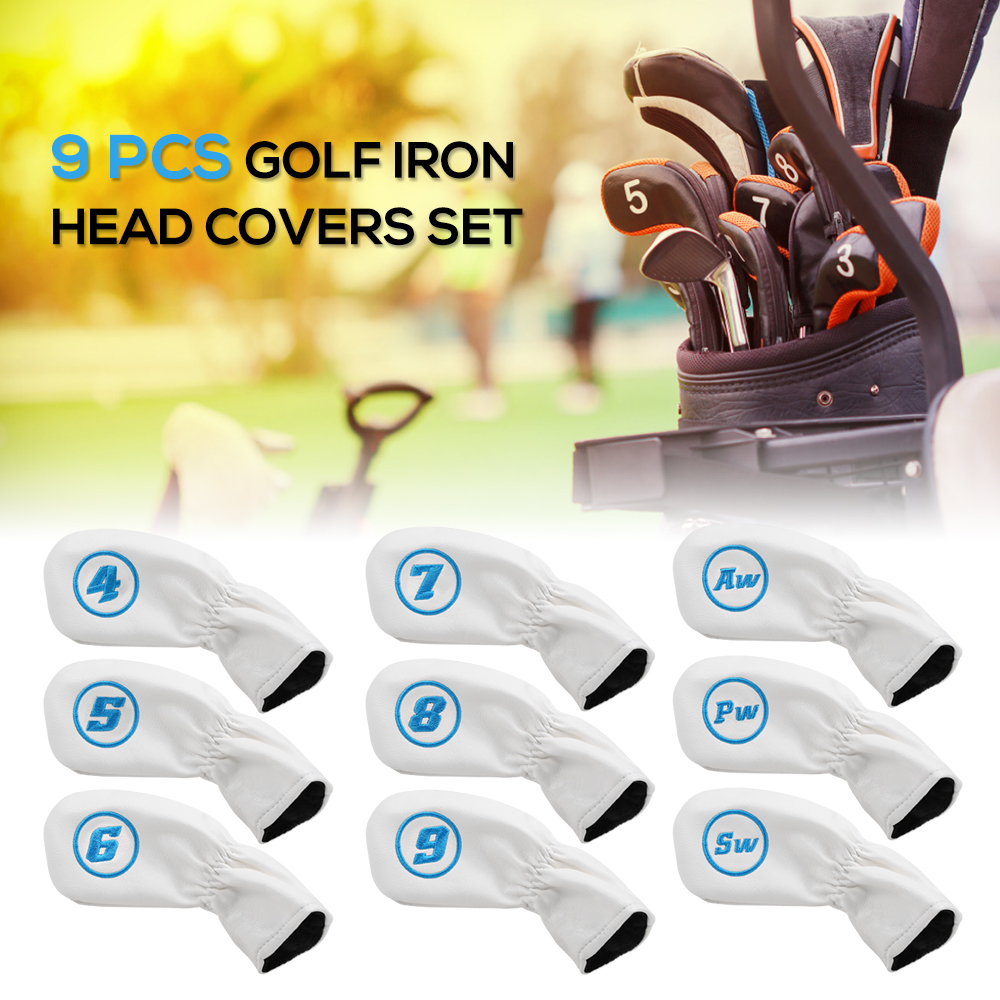 9 Pcs Golf Iron Head Covers Set Club Headcovers With Elastic Band