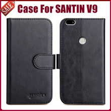 "Hot! SANTIN V9 Case 5.5"" 6 Colors Flip Soft Leather Phone Wallet Cover Stand Function Case Credit Card Slots(China)"