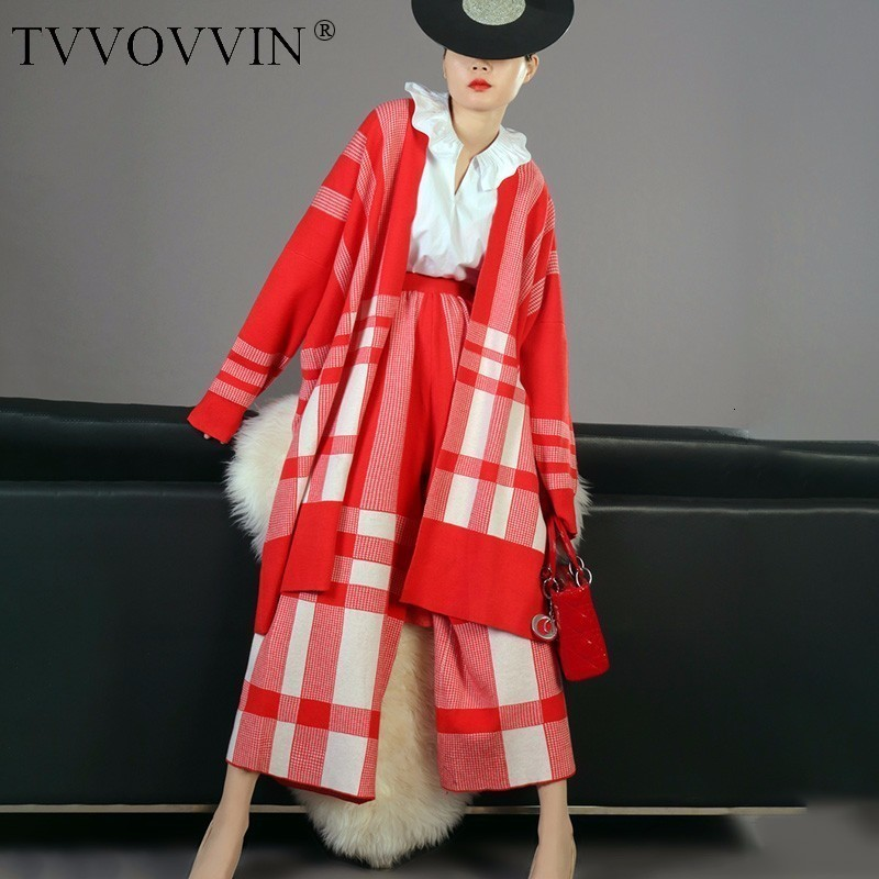TVVOVVIN High Quality 2019 New  Red Plaid Knit Cardigans Coat And Loose Wide Leg Pants Female's 2 Pieces Set Vestido L896
