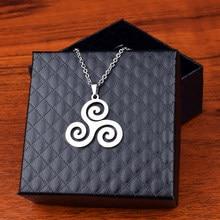 Pendentif Triskele en Argent et Triskelion pour homme et femme, collier en acier inoxydable, chaîne en forme de loup pour adolescent, bijoux cadeau