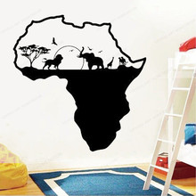 Africa Wall Decal Wild Animals Lion  Elephant Palm Tree Vinyl wall Sticker Nature Decor home decoration JH97
