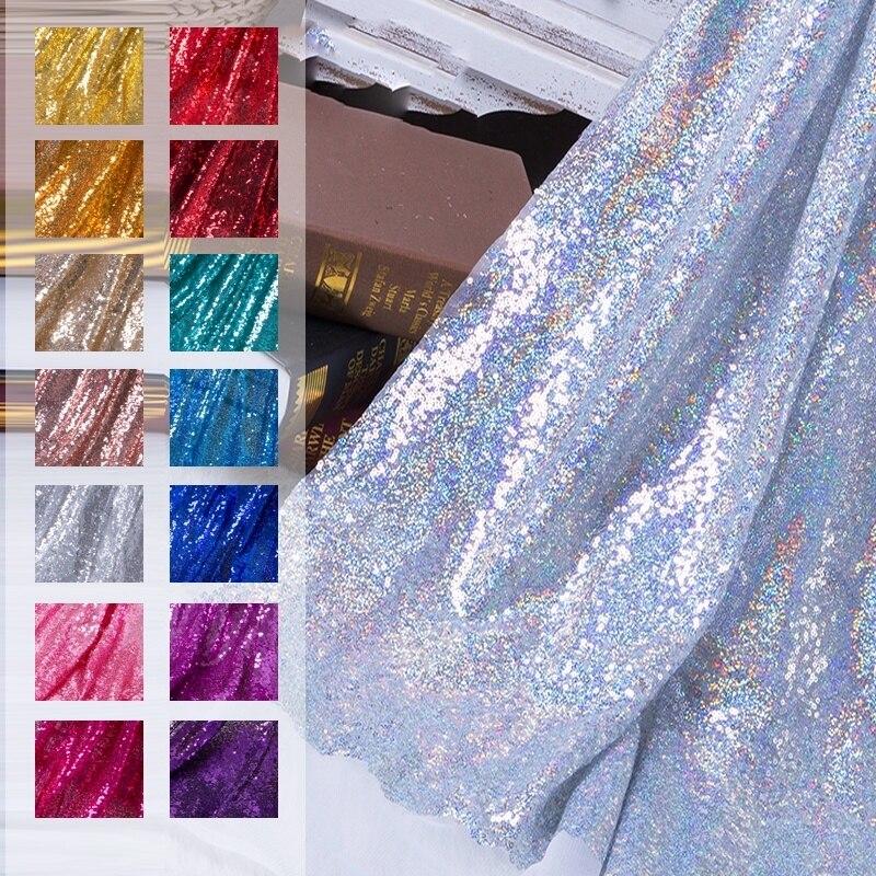 Блестящие пайетки из ткани 130 х50 см, цвета розового золота, серебра, блестящая ткань для украшения свадебных торжеств, дней рождения, материа...