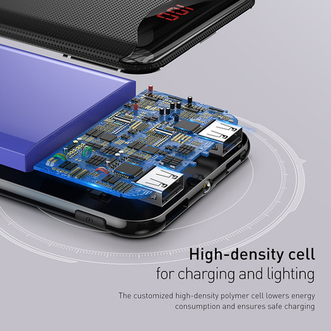 Baseus 10000mAh Power Bank Phone Charger For iPhone X Samsung Huawei Xiaomi Flashlight Digital Display Power Bank Two Usb Output Multan