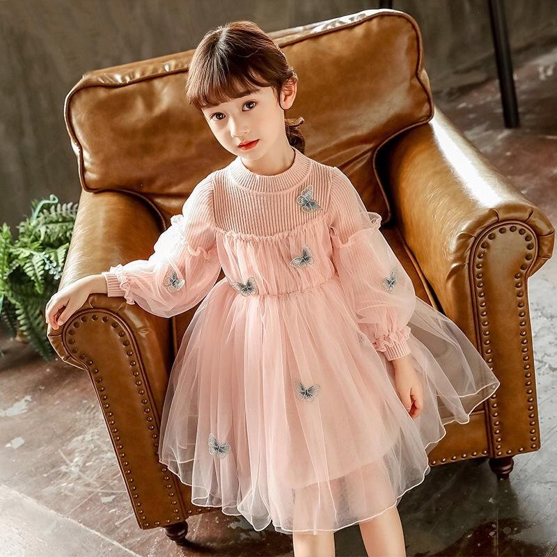 Осенне-зимнее платье с длинным рукавом для девочек, Новое поступление, детское милое бальное платье с бабочками, детское ТРАПЕЦИЕВИДНОЕ пла...