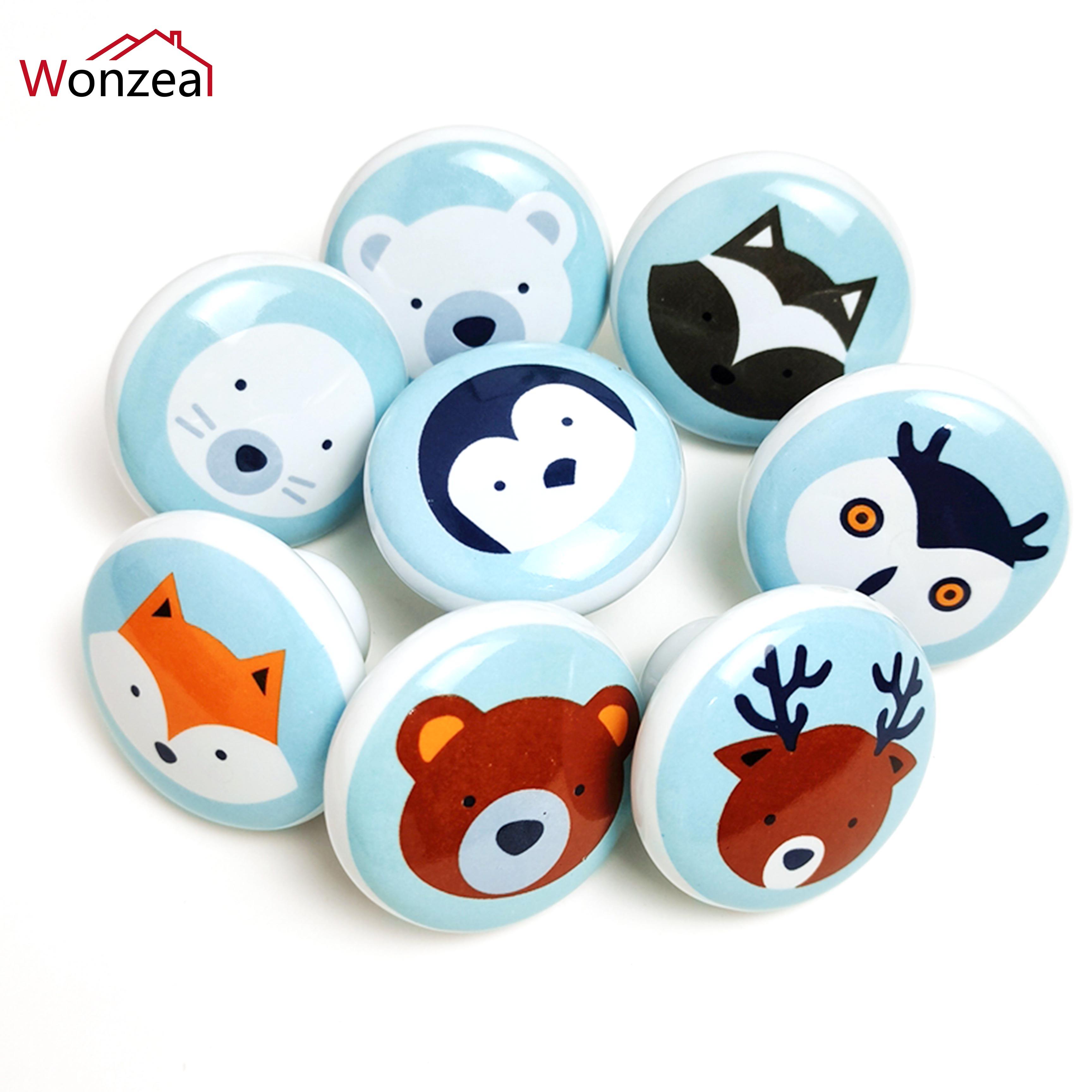 Bear Fox Penguin Animal Ceramic Handles Wardrobe Cupboard Drawer Knob Children Room Hardware Round Kitchen Door Pulls