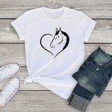Lus Los Fashion Horse cartoon Print tshirt women Casual Funny t shirt For