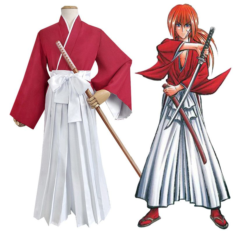 Japanese Style Anime Himura Kenshin Cosplay Costume Kimono Halloween Party Fancy Samurai Kendo Clothing Set Top Pants Belt