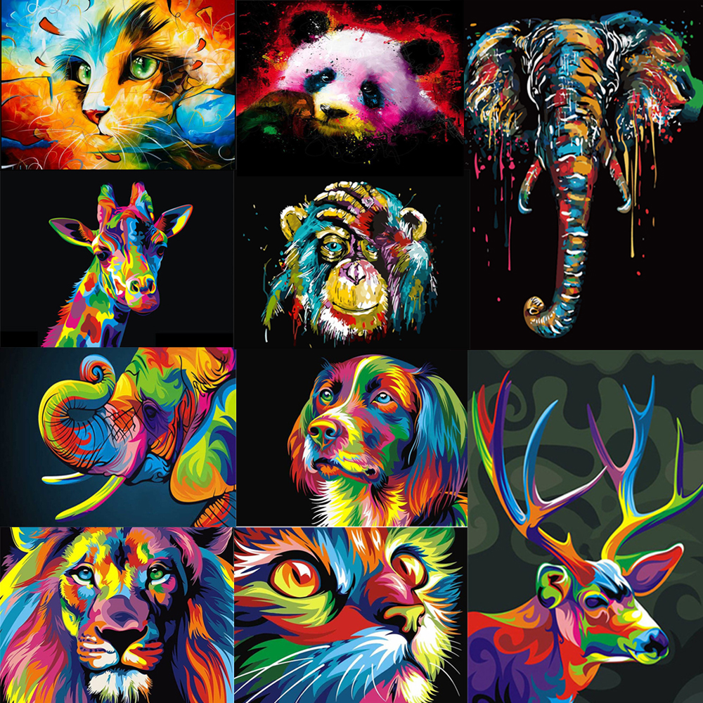 Paints By Numbers Animals Glowing Colorful Pictures Oil Painting By Numbers Frame Gift DIY Coloring By Numbers Canvas Wall Set