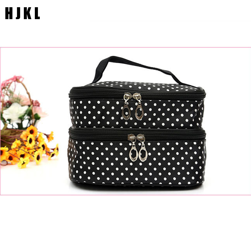 Travel AccessoriesFashion Polka Dot Cosmetic Bag Ms. Two-layer Cosmetic Bag Cosmetic Storage Bag Professional Makeup Artist Bag