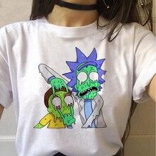 Harajuku T Shirt Rick and Morty Cartoon Print Tshirt Ulzzang Graphic Tee Plus Si