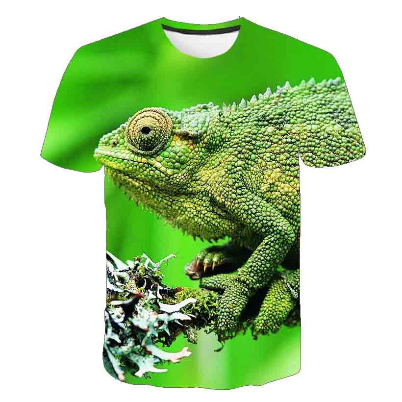 Летняя новая модная 3D футболка с животными, свисающая футболка с ящерицей, 3D Футболка с принтом геккона, лягушки, футболка с коротким рукаво...