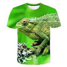 Verão nova moda animais 3d camiseta lagarto gota 3d impresso gecko sapo padrão camisa menino e menina de manga curta camiseta