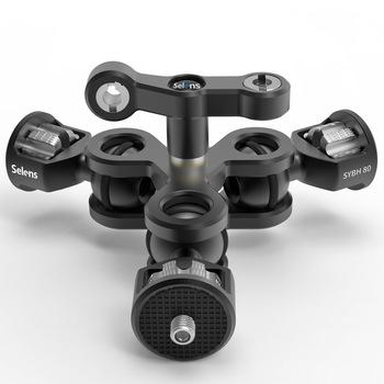 Wielofunkcyjna podwójna głowica kulowa Hot Shoe Magic Arm adapter do montażu ze śrubą 3 8 #8221 1 4 #8221 do lustrzanki cyfrowe Sony Canon Nikon tanie i dobre opinie Selens Aluminium SYBH80