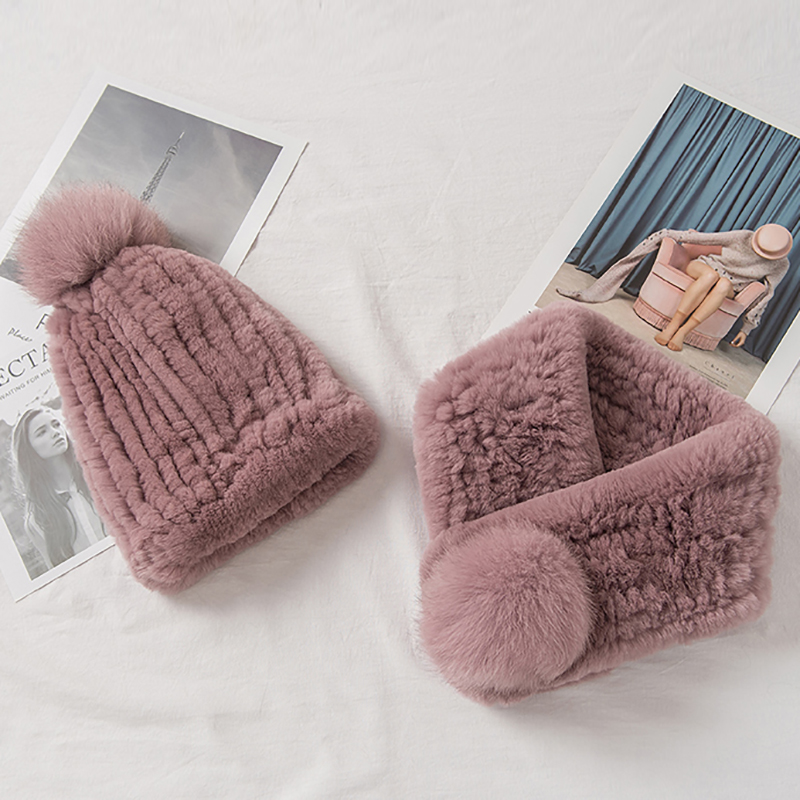 YCFUR Girls Hat Scarf Set Thicken Furry Real Rex Rabbit Fur Scarves Hats with Fox Fur Pompoms Cap Women Hats Scarves Sets