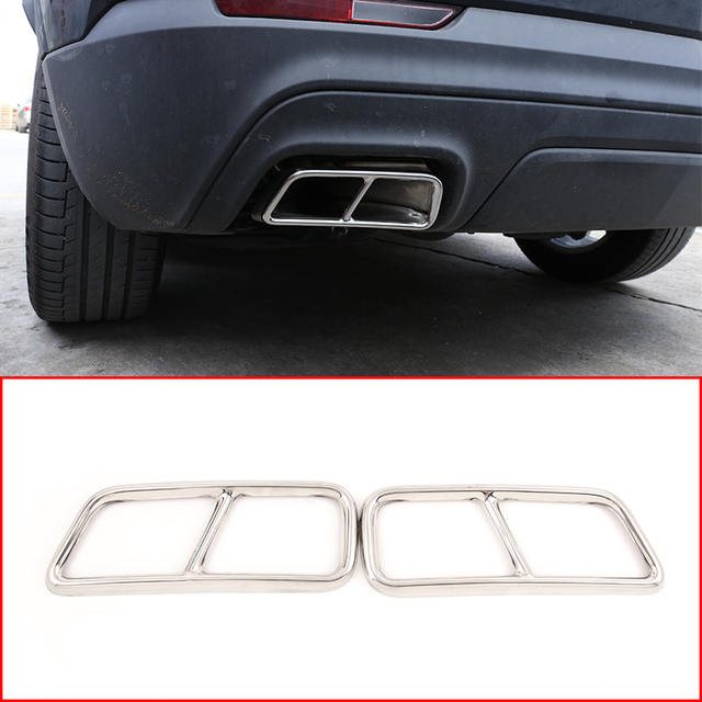 2pcs Stainless Steel Car Pipe Throat Exhaust Outputs Tail Frame Cover Trim For Cadillac XT5 XT4 2016-2018 Muffler Accessories 1