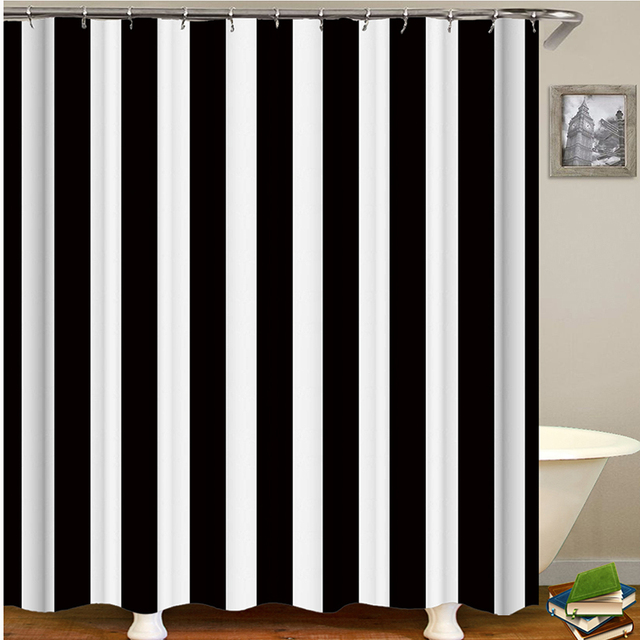 Black And White Striped Shower Curtain Black Bathroom Curtain White Curtains For Bathroom Shower Drop Shipping Fabric Polyester