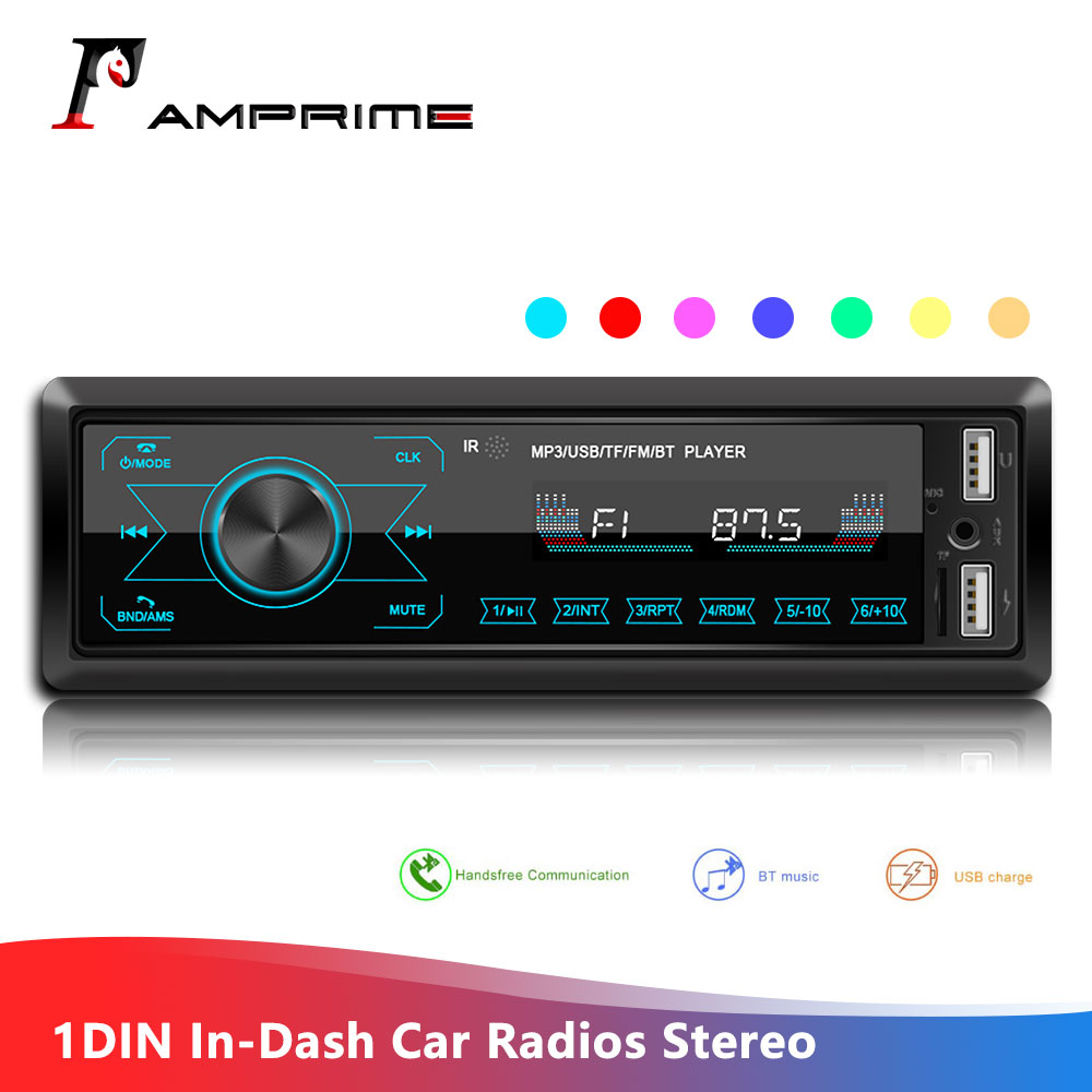 AMPrime 1DIN In-Dash Car Radios Stereo Remote Control Digital Bluetooth Audio Music Stereo 12V Touch Screen Car Radio Mp3 Player image
