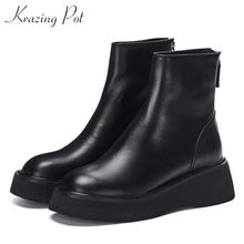 Boots High-Heels Genuine-Leather Krazing-Pot Thick-Bottom Zipper Winter Women Fashion
