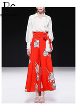 Baogarret Elegant Office Lady Two-Pieces Womens Long Sleeve Bow White Blouse + Red Wide Leg Pants Fashion Suits