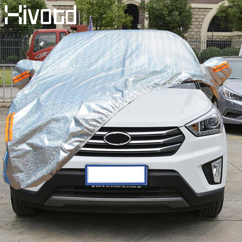 Hivotd pour hyundai creta ix25 bâche de voiture complète 2017-2019 Film d'aluminium étanche à la poussière UV ombre couverture Auto accessoire extérieur
